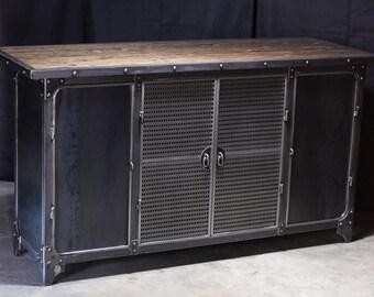 Bar | Liquor Cabinet | Modern Industrial Riveted Home Furniture | Vintage | Man Cave | Steel & Wood | Modern |  Cocktails