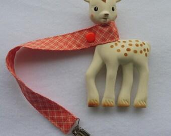 BatesCreates Sophie the Giraffe leash, tether, toy - 100% cotton fabric - topstitched (PEACH CHECKS)