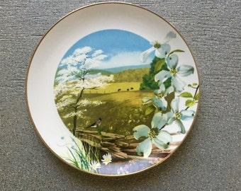 "Flowering Dogwood Plate ""Wildflowers of the South"" #3786 Royal Windsor"