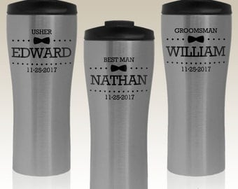 Groomsman Monogrammed Coffee Mugs Personalized with Groomsmen Design Options (Each -Insulated Stainless Steel Travel Mugs)