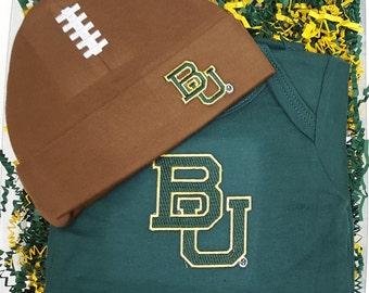 Baylor Bears Baby Bodysuit & Football Cap Gift Set