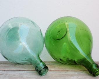 Couple carboys Italian glass 10 liters vintage Demijohn