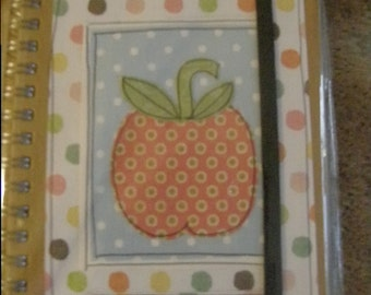 A6 hand decorated, paper collage, quirky,teachers notebook, decorated with a apple, ready to post and can be personalised