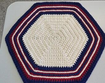 Patriotic Crochet Hexagon Rug