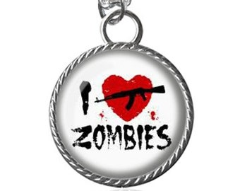 Zombie Necklace, I Love Zombies Image Pendant Key Chain Handmade