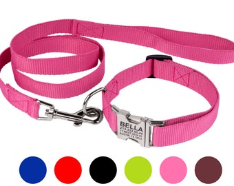 Personalized Dog Collar Leash Set Nylon S M L Black Brown Red Pink Lime Blue