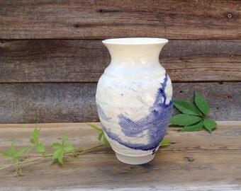 Blue and White Vase Decorative Art White and Blue Ceramic Vessel Home/ Office Decor