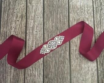 Dark red sash, Flower girl sash, childrens sash, wedding sash, rhinestone sash, dress sash