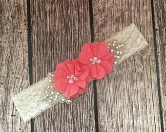 Coral headband, rhinestone headband, flower girl headband, vintage headband, lace headband, rhinestone and pear, flower girl