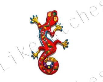 Red Fancy Gecko Reptile New Sew / Iron on Patch Embroidered Applique Size 5.8cm.x9.6cm.