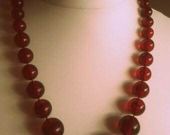 Vintage 60s Root beer brown Acrylic Wilma Flintstone style necklace UK shop