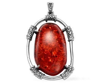Simulated Red Amber Resin Free Form Pendant Silver-tone Without Chain