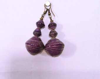 Purple paper bead Earrings. Recycled paper-beads , Eco friendly. Item# 0221