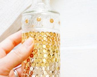 decorative glass bottle with cork metal ombre sequin bottle corked glass bottle with metalic sequins home decor bathroom decor gift decor