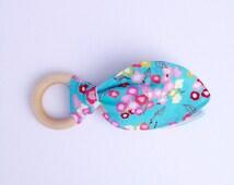 Wooden Teether - Baby Teething Toy - Natural Wooden Ring Teether - Baby Shower Gift - Teething Ring - Bunny Ear Teether - Boy Girl Teether