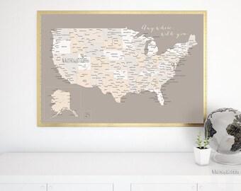 Usa Map Pinboard Etsy - Us map pinboard