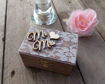 "Ring Bearer Box ""Mr & Mrs / Lace""  -- Wedding / Ring Box / Wedding Box / Vintage / Ring Holder / Rustic / Wood"