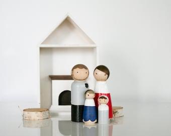 READY TO SHIP Sale Dollhouse Family Wooden Dolls Peg Dolls Set