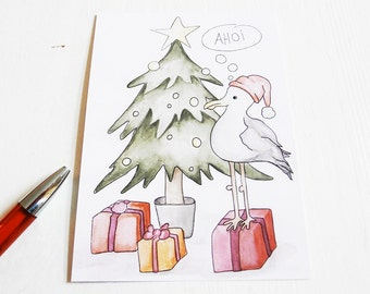 Christmas card, postcard, card, Designkarte with illustration - Christmas Gull on the tree