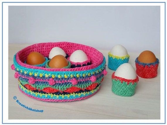 Crochet Pattern Egg Basket with Egg Cups, table decoration, Easter ...