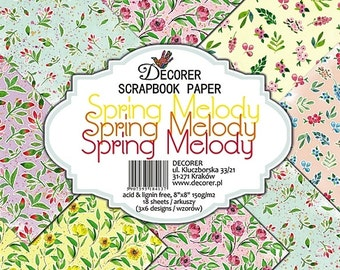"""18 sheets 8X8"""" scrapbook paper -  Spring Melody by Decorer"""