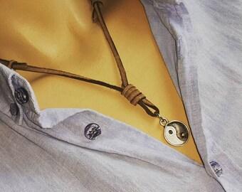 Silver Balance Men's Leather Necklace, Men Necklace, Mens Necklace. Bronze aircraft Necklace, adjustable leather  Necklace