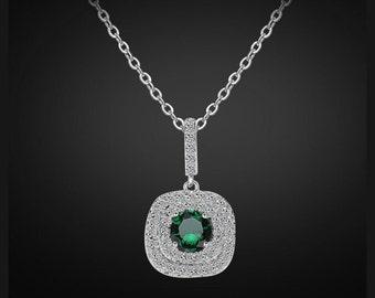 Emerald bridal necklace, Swarovski bridal necklace, bridesmaid necklace