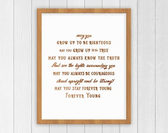 Forever Young Print | Bob Dylan Print | Nursery Decor | Baby Shower Gift | Parenthood Art Print | Forever Young Lyrics