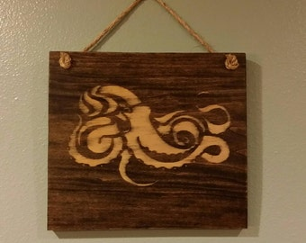 Wood sign with octopus