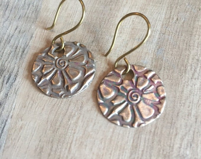 Daisy earrings, Handcrafted Earrings, Handcrafted Gold Earrings