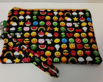 Emoji wristlet, coin purse, zipper pouch