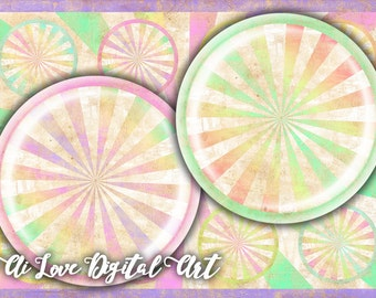 Digital collage sheets 1.5 inch, 30 mm, 1 inch circle download cabochon, Pastel Vintage printable images