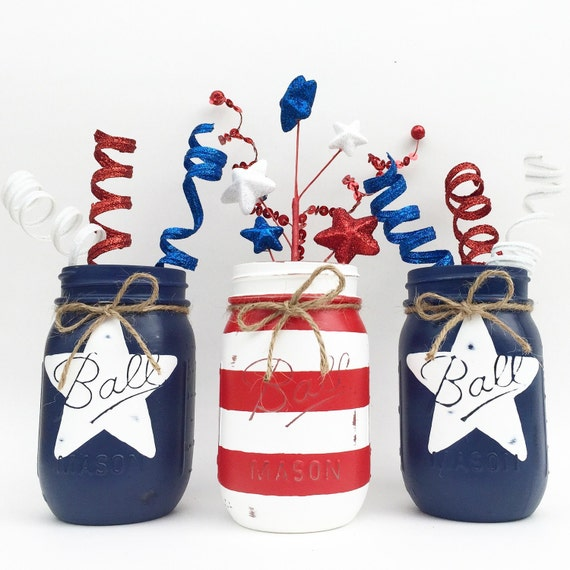 stars and stripes mason jar trio 4th of july home decor. Black Bedroom Furniture Sets. Home Design Ideas