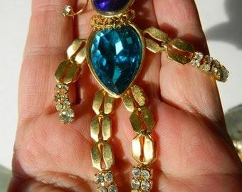Jeweled-Dangling clown Pin