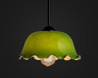 Old Shanghai Jade Floral Glass Ceiling Lamp - pendant lamp - E27 - edison bulb - industrial style - DIY light - hanging lamp - ceiling lamp