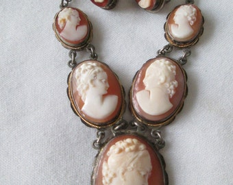 1800s Victorian Sterling Silver Shell Cameo Necklace Set