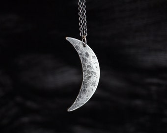 large crescent moon necklace, crescent moon silver necklace, moon long necklace, crescent moon sterling necklace, crescent moon jewelry