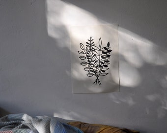 black and white woodcut - bunch of flowers