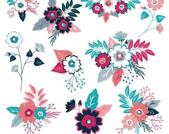 Flower Clipart, Floral Clipart, Flower Clip Art, Digital Flowers, Navy Flowers, Pink Flowers, Wedding Flowers, Commercial Use, Printable
