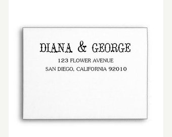 SALE Custom Address Stamp, Calligraphy Stamp, Invitation Address Stamp, Wood Handle or Self Inking