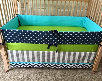 Polka Dot Crib Set/Turquoise, Lime & Navy Baby Bedding/Colorful Crib Set/Custom Baby Bedding/Baby Crib Bedding/Custom Crib Bedding