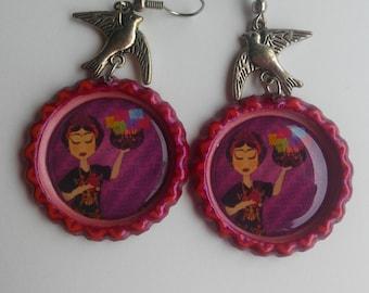 Frida Kahlo Bird earrings