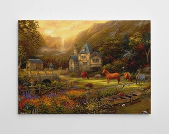 """English Farm Painting, Horses Canvas Art, Large Painting, English Countryside Farm Wall Art, """"The Golden Valley"""" by Chuck Pinson-3745-GW"""