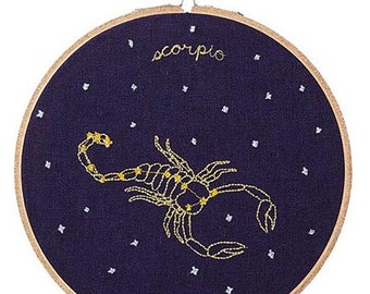 Scorpio (October 23 - November 21) zodiac embroidery