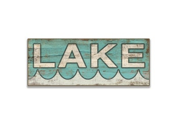 "Lake wooden sign 18.25""x7"" Lake sign cottage sign lake decor lake wall art resort signs cottage signs turquoise lake sign"