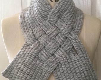 Silver Grey Woven Rib Scarf