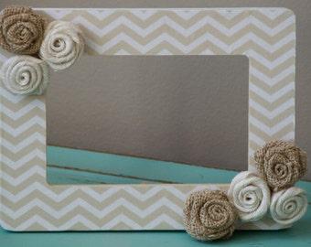 Chevron and burlap flower frame