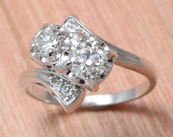 Vintage White Gold Diamond Bypass Ring