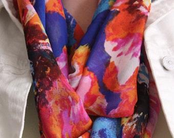Floral Pattern Chiffon Infinity Scarf