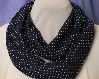 Infinity Scarf, Navy Blue Chiffon with White Dotted Print